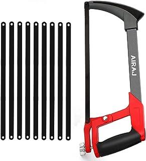 AIRAJ - Sierra para metales multiusos con 10 hojas de sierra de acero, marco ajustable, sierra de mano con hoja intercambi...