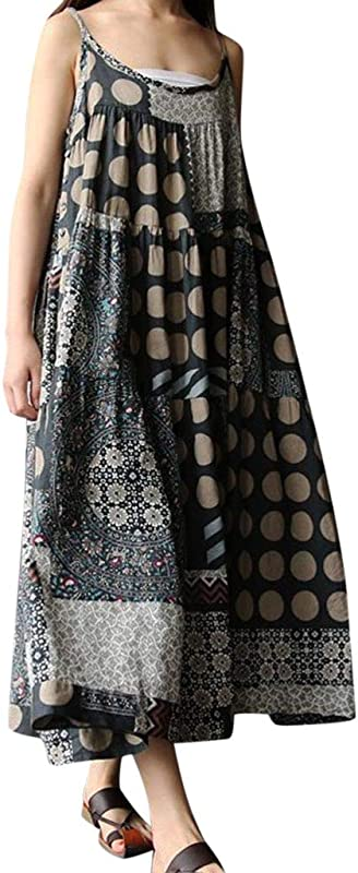 Women S Plus Size Cotton Linen Casual Sleeveless Dresses AmyDong Retro Patchwork Printed Loose Boho Maxi Dress
