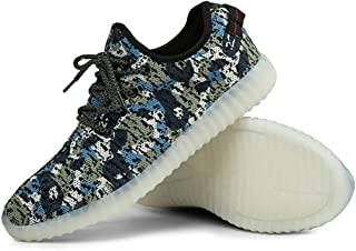 Men Women Camouflage Mesh Light Up LED Sport Shoes Knit Tennis Sneakers for Dance