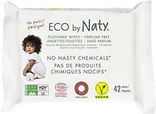 Eco by Naty Thick Flushable Baby Wipes for Sensitive Skin, Unscented, Hypoallergenic, Biodegradable and Compostable, 12 Packs of 42 (504 Count)