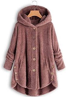 Frieed Women Shaggy Fashion Coat Warm Hooded Pockets Button Up Jacket Coat