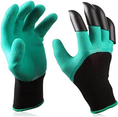 Ladli™ Polyester Garden Genie Gloves with Claws for Digging Planting (Green, Approx: 24 x 12 cm)