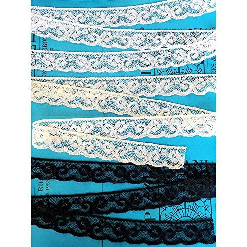 Encaje Valencienne Rigido para costura creativa decoracion boda manualidades Altura cm.4 Paquete mt.20 Art.1005777, NEGRO