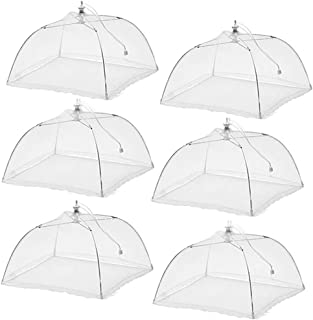 (6 Pack) Esfun Large Pop-Up Mesh Screen Food Cover Tent Umbrella, 17 inch, Reusable and Collapsible Outdoor Picnic Food Co...