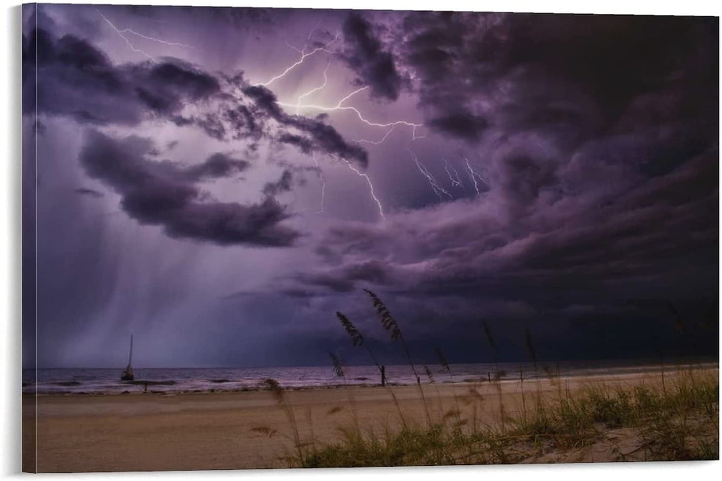 Canvas Prints Poster Easy-to-use Lightning Within Clouds Over Storm Limited price sale Sea Home