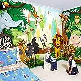 Deeaceo Foto Carta Da Parati Fotomurale- Autoadesiva-Giallo Verde Sveglio Della Tigre Dell'Elefante Della Zebra Della Tigre Della Foresta Animale Del Fumetto Manifesto Effetto 3D Fami 430X300 Cm(L+A)
