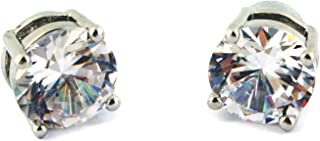 IDS CZ Cubic Zirconia Clear Round Magnetic Clip On Stud Earrings for Men, Women, Unisex, 6MM, 1 Pair - S
