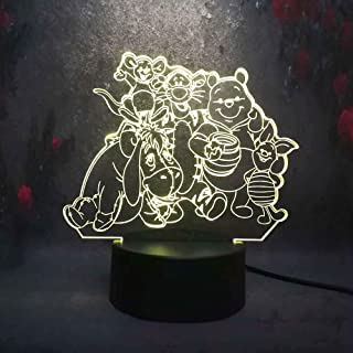 Amroe Cartoon Big Family Cute Winnie Pooh Eeyore Tigger Friends 3D LED Night Light 7 Color USB Remote Touch Table Lamp Home Decor Kids