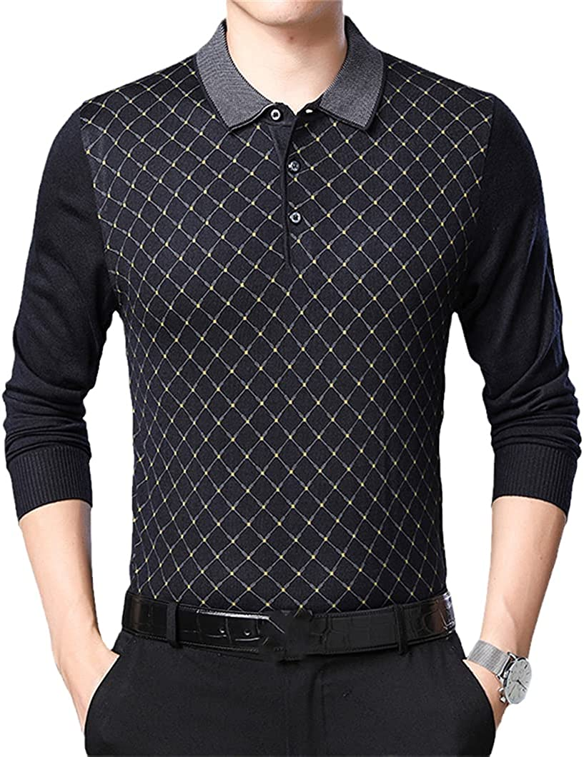 USDBE Men Turn-Down Collar Sweaters Clothes Streetwear Long Sleeve Sweater Pullover