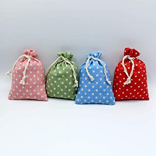 """4 sacchettini""""Talpe"""" (14x10cm) di cotone lino multicolor, ciascuno riempito con 30 g di pura lavanda (120g)"""