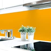 Keukenachterwand Gele tonen 2 effen kleuren Premium hard PVC 0,4 mm zelfklevend – direct op de tegels - Materialprobe A4 -...