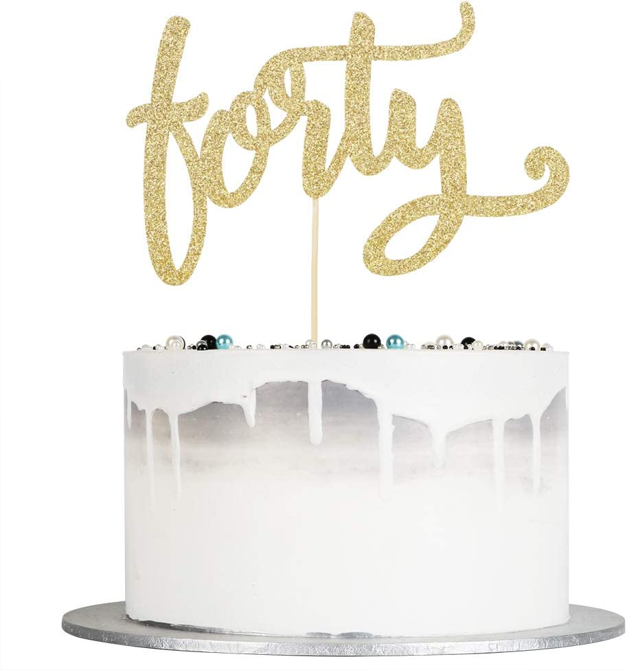 Auteby Forty Cake San Francisco Mall Topper - Max 48% OFF Glitter Birthday Happy Gold 40th