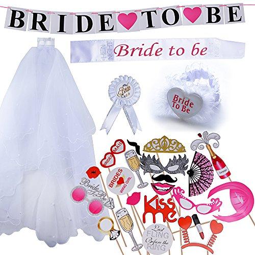 (Kit da 25 pz) Bride To Be Hen Night Futura Sposa Puntelli Foto Decorazioni Festa Addio al Nubilato Matrimonio Velo con Pettine Fascia Bride Photo Booth Props Wedding