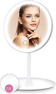 HOCOSY Espejo Maquillaje con luz con Espejo Aumento 5X, Espejo tocador con luz,Espejo Cosmético Pantalla Táctil de Mesa con 3 Modos de Color, rotación de 90°, Carga con USB