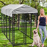 Large Dog Kennel Dog Crate Cage, Extra Large Welded Wire Pet Playpen with UV Protection Waterproof Cover and Roof Outdoor Heavy Duty Galvanized Metal Animal Pet Enclosure for Outside
