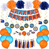 53 Pieces Dart War Happy Birthday Banner Party Decorations Dart Gun Birthday Supplies Paper Flower Pom Pom Hanging Swirls Latex Balloons Tassel Garland Cake Cupcake Topper