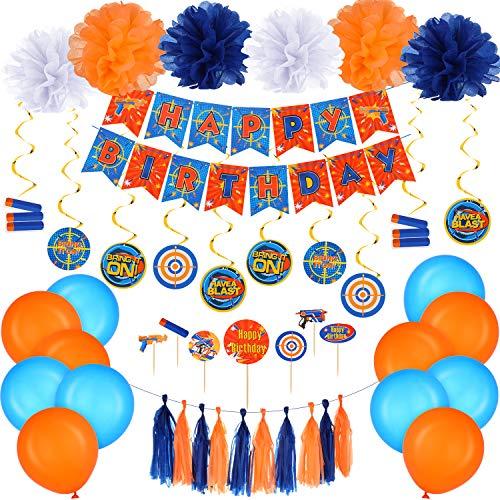 53 Pieces Dart War Happy Birthday Banner Party Decorations Dart Gun Birthday Supplies Paper Flower Pom Pom Hanging Swirls Latex Balloons Tassel Garland Cake Cupcake Topper