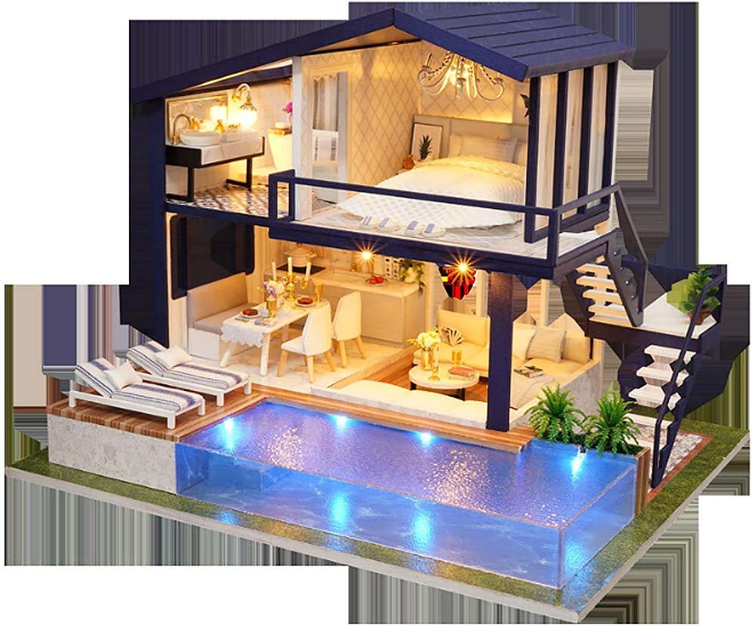 QHWJ Wooden Miniature Doll House, Diy Cabin Time Apartment Wooden House Puzzle Handmade Villa Model Doll House Creative Gift