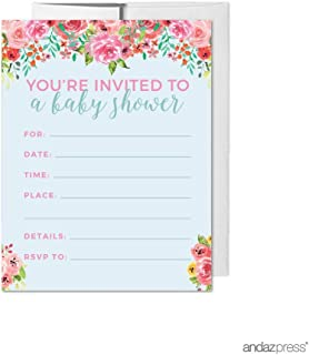 Andaz Press Pink Roses English Tea Party Tea Party Baby Shower Collection, Blank Invitations with Envelopes, 20-Pack, Games Activities and Decorations