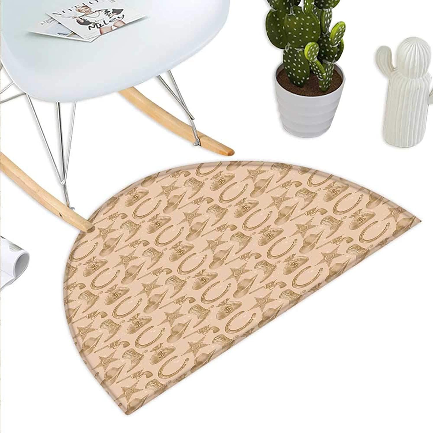 Western Semicircle Doormat Engraving Style Star Boot and Money Revolver Line Pattern Worn Out Dotted Backdrop Halfmoon doormats H 43.3  xD 64.9  Tan Brown