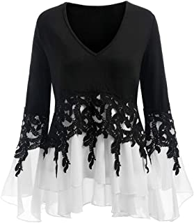 LEXUPA Fashion Womens Casual Applique Flowy Chiffon V-Neck Long Sleeve Blouse Tops