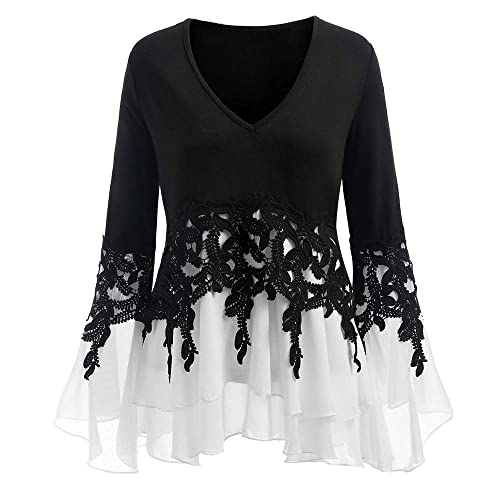 d7e871393e7d0d OYSOHE New Womens Casual Applique Flowy Chiffon V-Neck Long Sleeve Blouse  Tops