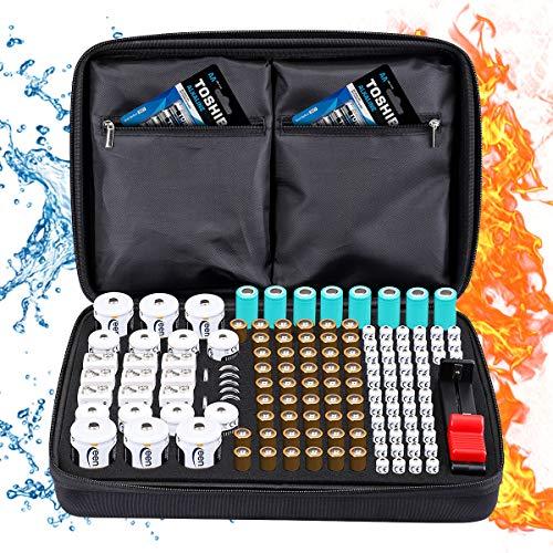 Custodia per Organizer per Batterie, Keenstone Organizer per Batterie Contiene 139 Batterie di Varie Dimensioni (AA AAA C D 9V), con Tester per Batteria Rimovibile (Batterie non Incluse), Nero