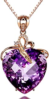 Elegant Heart Shaped Amethyst Pendant Necklace, Luxury Fashion18K Rose Gold Love Heart Natural Purple Crystal Jewelry - Great Birthday Anniversary Mothers Day Wedding Gift