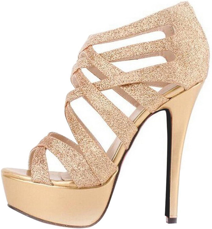 Sothingoodly Pretty Optimal Women Bling Crossing High Heels Sandals
