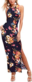 OMEYA Floral Printed Sleeveless Split Beach Party Boho Long Maxi Dress with Pockets Casual Summer Dress for Women
