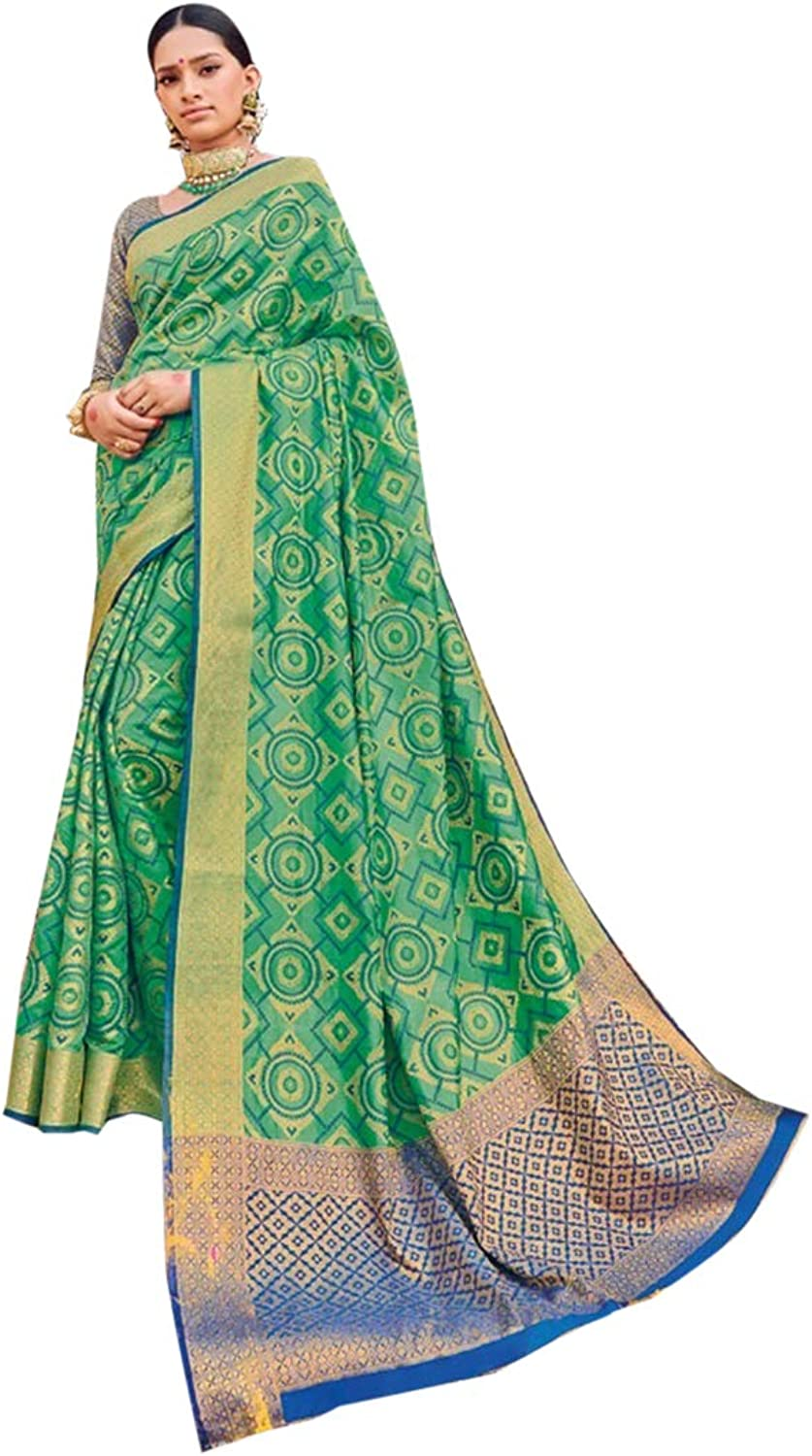 Indian Ethnic Traditional South Silk Sari with Blouse piece Designer Party wear Saree for Women 7771