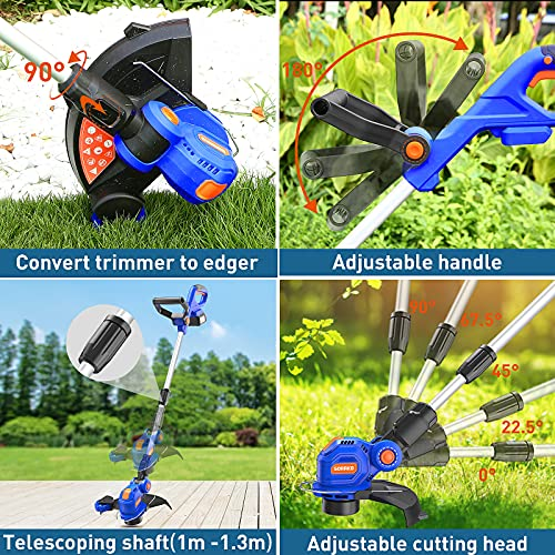 SORAKO Cordless Grass Trimmer, 18V 2-in-1 Grass Trimmer/Edger with 2Ah Li-ion Batteries & Fast Charger, 30cm Cutting Diameter, Auto-feed Lines Trimmer with Edging Wheel, adjustable handles
