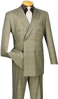 Men's Wool Feel 6 Button Double Breated Glen Plaid Suit Drw-1