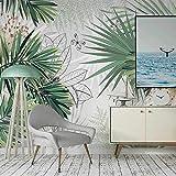 NIJP Carta da Parati Personalizzata 3D murale, Verniciato Piante Tropicali Pinza Foresta Foglie di Palme da Foresta Foto, Soggiorno Camera da Letto Decorazioni in Seta affresco-Formato Personalizzato