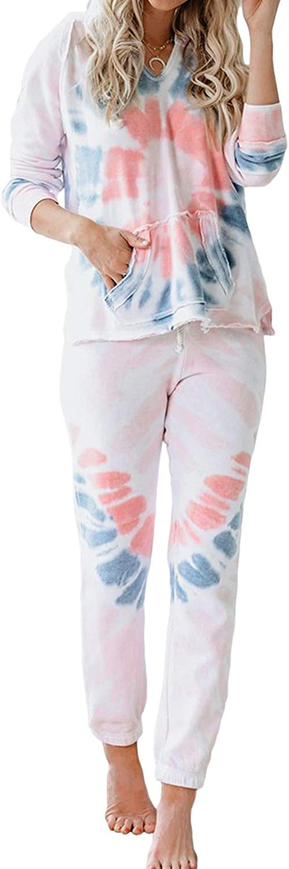 Actoe Womens Tie Dye Pajamas Set Long Sleeve Pullover and Pants Sleepwear Loungewear Nightwear Pj Lounge Sets