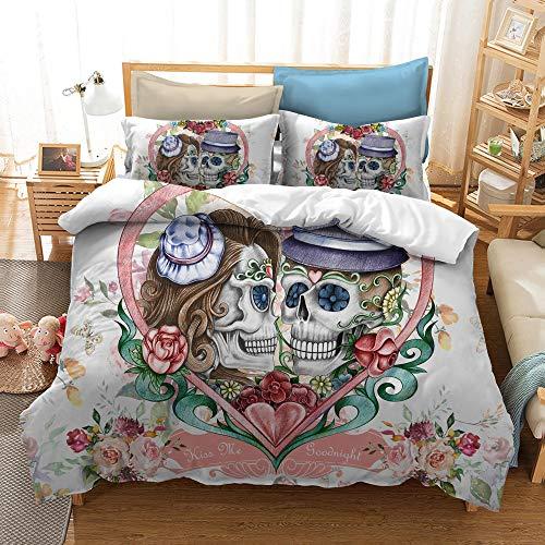 BH-JJSMGS Aquarell Blumen Tweed Bettwäsche Set von DREI, Bettbezug und Kissenbezug, SK61180x210cm