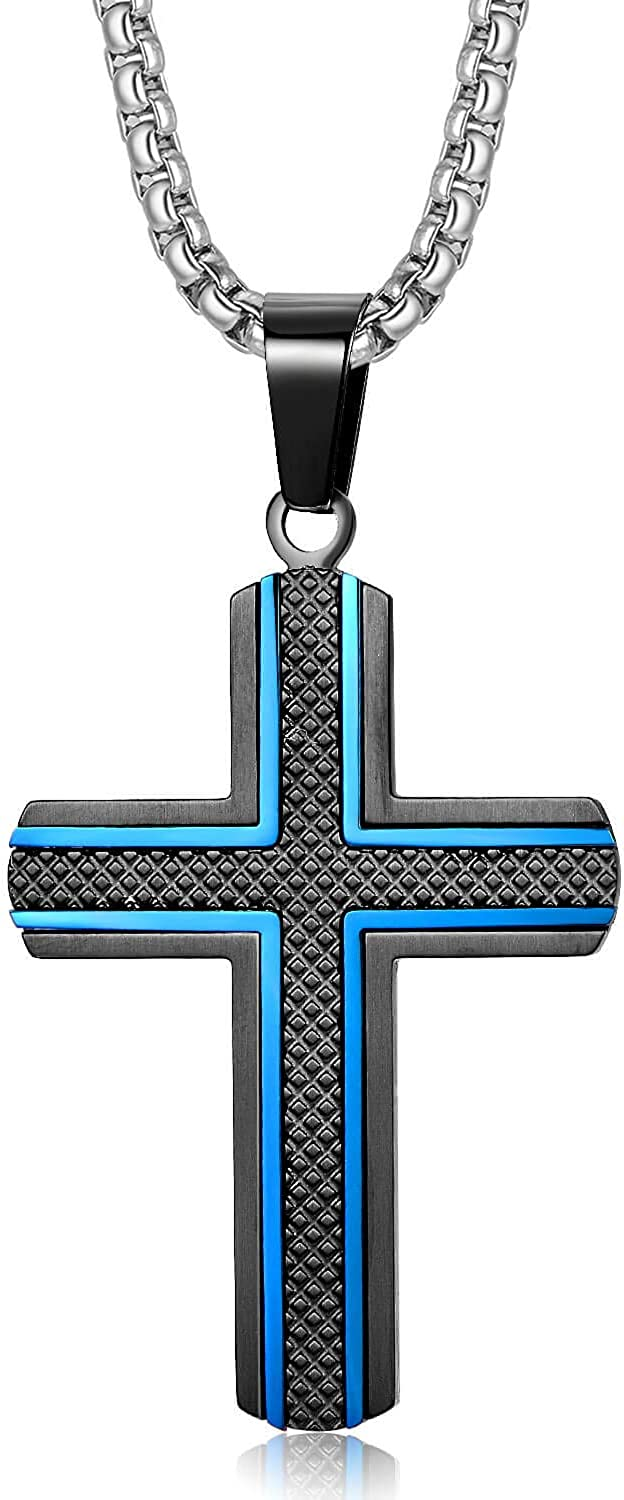 Holizaly Men's Cross Necklace 316L Stainless Steel Pendant White/Gold/Black/Blue Rolo Chain-Gift Box Included