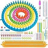 Set di telai per maglieria con kit di attrezzi e marcatori,con telai rotondi e lunghi in plastica di 6 dimensioni,kit di attrezzi per maglieria,ferri da maglia e ganci,per realizzare