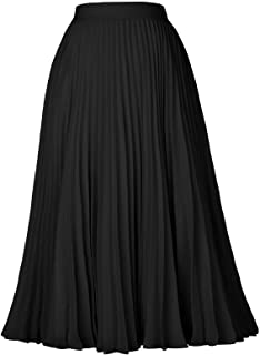 Kate Kasin Women's High Waist Pleated A-Line Swing Skirt...