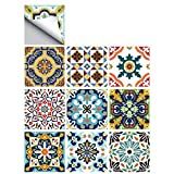 25 PCS Moroccan Style Tile Sticker, 4x4 Inch(10x10cm) Traditional DIY Murals, Tile Waterproof Oil Proof Removable Decals for Bathroom & Kitchen Backsplash