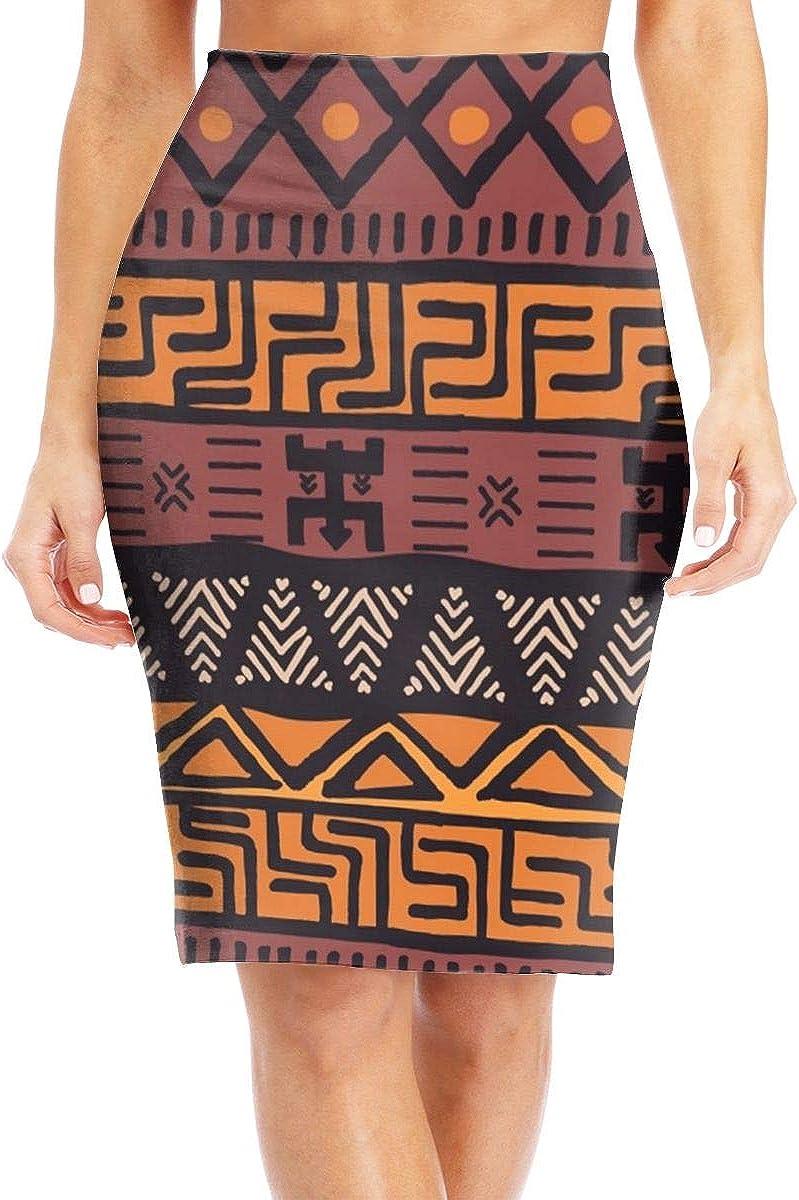 DUDBFGG Colorful Geometric Tribal trust Pattern service Elastic Women Pe Waist