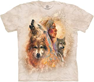 The Mountain Native American Woman with Wolves 100% Cotton Unisex T-Shirt - Unity - Tan