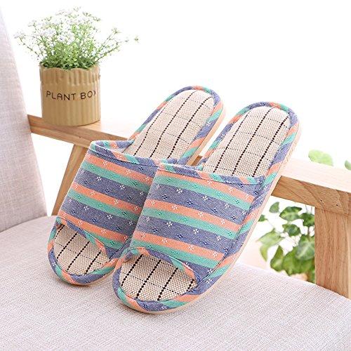 Confortable des Pantoufles intérieures Anti-dérapantes Le Sol en Bois Les Pantoufles en Lin en Coton à la Maison (6 Couleurs en Option) (Taille facultative) Augmenté