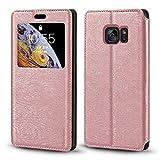 Funda para Samsung Galaxy S7 de lujo, de piel de grano de madera con ranura para tarjeta de notificación y ventana de notificación, tapa magnética para Samsung Galaxy S7