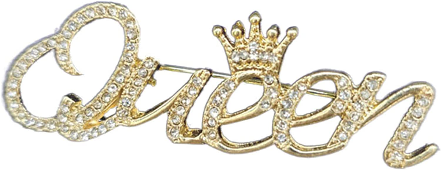ink2055 Fashion Women Rhinestone Queen Letter Crown Shape Decor Brooch Pin Jewelry Gift,Vintage Fashion Brooch Pins for Women Teen Girls Crafts Gift