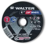 Walter Surface Technologies 11T042A High Performance Cut-Off Wheel, Type 1, Round Hole, Grit A-60-ZIP, 3/64' Thick, Aluminum Oxide, 13300 RPM, 4-1/2' Diameter, 7/8' Arbor (Pack of 10)