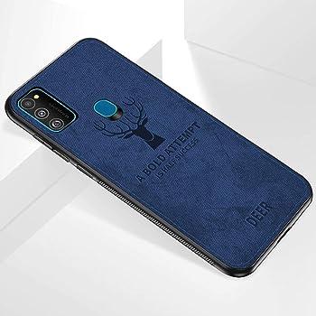 TheGiftKart Deer Series Hybrid Fabric Samsung Galaxy M21 / M30s Back Case Cover   Flexible & Shockproof   Inbuilt Anti-Slip Grip   Designer Case   Camera Protection (Blue)