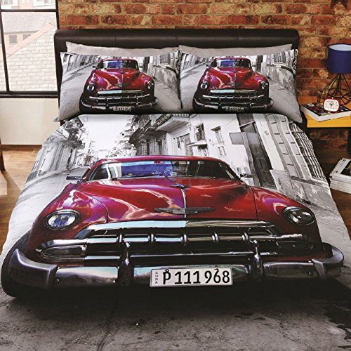 "'Urban Unique' ""Santiago"" Classic American Car, Multi Coloured, Duvet"