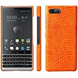 HualuBro BlackBerry KEY2 Hülle, Ultra Slim Premium Crocodile PU Leder Leather HandyHülle Tasche Schutzhülle Case Cover für BlackBerry Key 2 Smartphone (Orange)