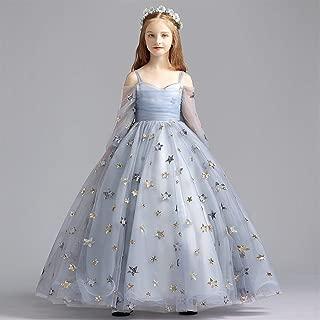 Luxury Sen Department of Children Princess Dress Flower Girl Dress Lace Wedding Dress Catwalk Models of Small Host Piano Performance Clothing ryq (Color : Grey, Size : 150cm)